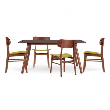 Modernist Dining Set - 1 Table & 4 Chairs - Olive
