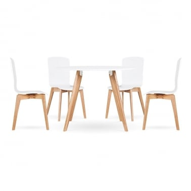 Hemming Dining Set - 1 Table & 4 Chairs - White