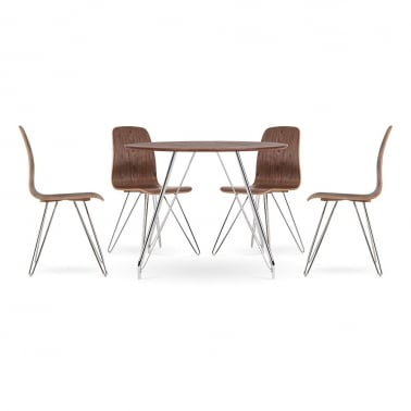 Björn Dining Set - 1 Table & 4 Chairs - Walnut