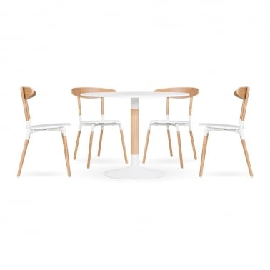 Chic Dining Set - 1 Table & 4 Chairs - White