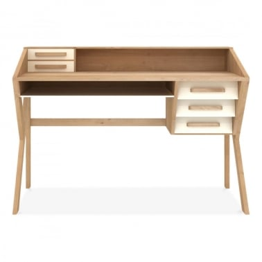 Origami Desk 5 Drawers - Cream