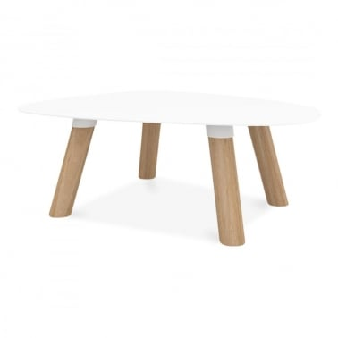 Turtle Coffee Table, Solid Oak and Metal Top, White