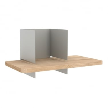 Clip Wall Shelf, Solid Oak Wood and Metal Frame, Light Grey
