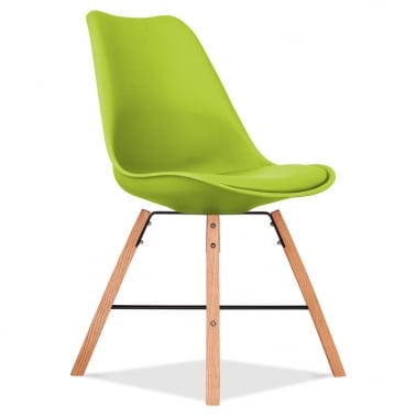 Soft Pad Dining Chair With Cross Brace Legs - Apple Green
