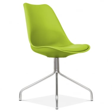Apple Green Dining Chairs With Metal Cross Legs