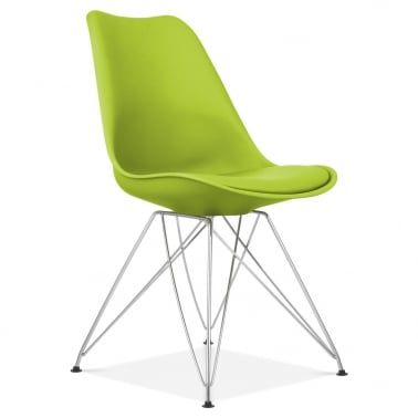 Apple Green Dining Chair with Eiffel Metal Legs