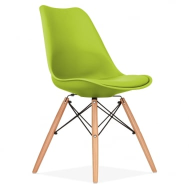 Apple Green Dining Chair with DSW Style Wood Legs