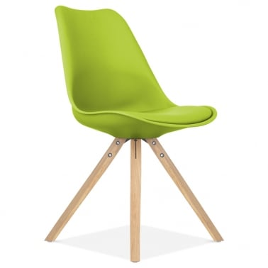 Apple Green Dining Chair with Pyramid Style Solid Oak Wood Legs