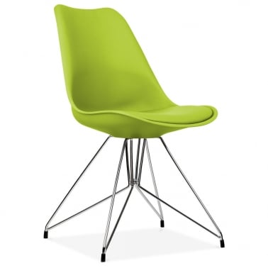 Apple Green Dining Chair with Geometric Metal Legs