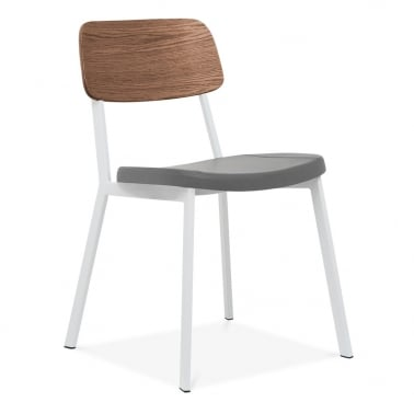 Hipster Chair White With Grey Faux Leather Seat