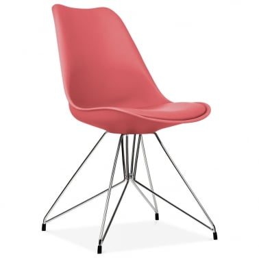 Watermelon Dining Chair with Geometric Metal Legs