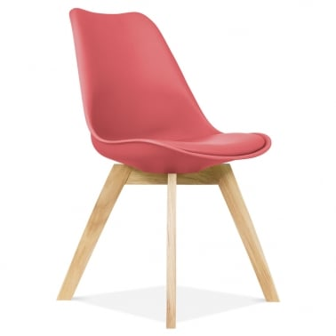 Watermelon Dining Chairs With Solid Oak Crossed Wood Leg Base