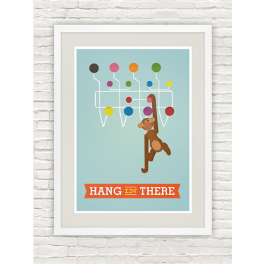 Hang it all Monkey Retro Print - Multi-coloured