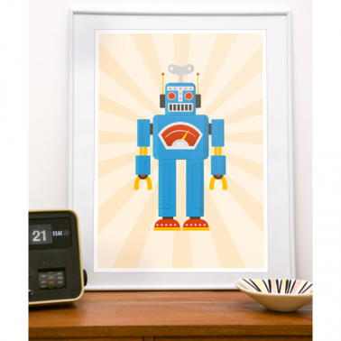 Retro Robot Framed Print - Blue