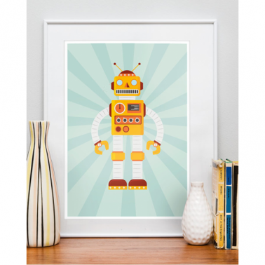 Robot Retro Framed Print - Yellow