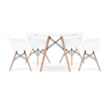 DAW Dining Set - 1 Table & 4 Chairs - White 90cm