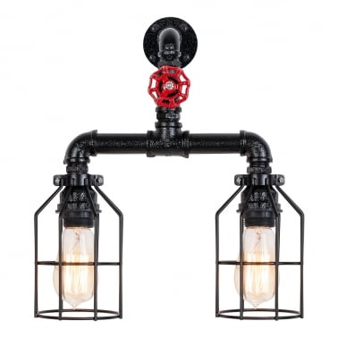 Morse Industrial Tap Wall Light - 2 Cages