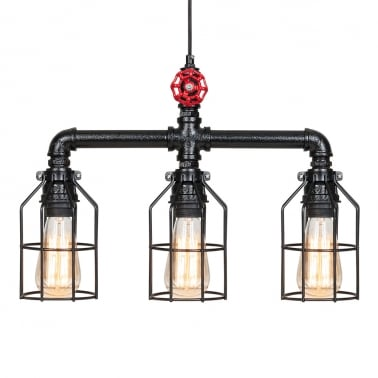 Morse Industrial Tap Ceiling Light - 3 Cages
