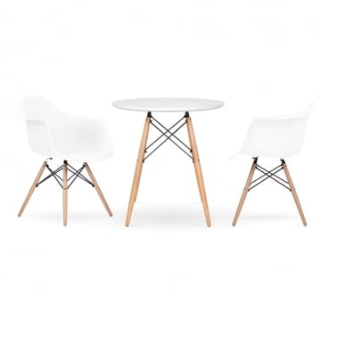 DAW Dining Set - 1 Table & 2 Chairs - White 70cm