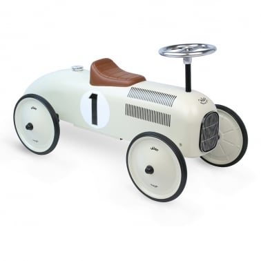 Ride On Metal Racing Car - White