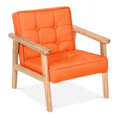 Millie Kids Lounge Chair in PU Leather - Orange