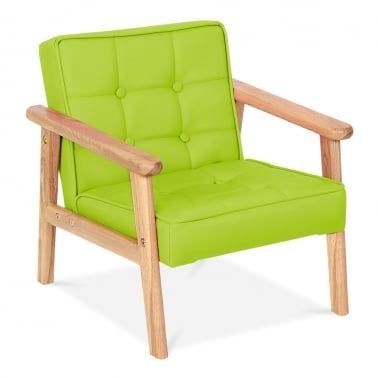 Millie Kids Lounge Chair in PU Leather - Lime Green