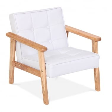 Millie Kids Lounge Chair in PU Leather - White