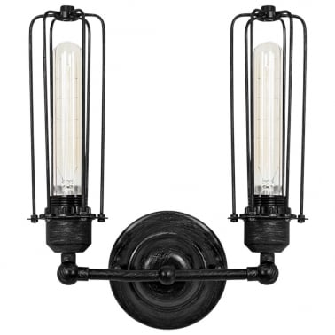 Caged Double Sconce Black Gunmetal Wall Light