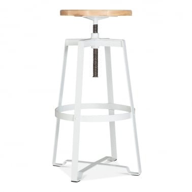 Nashville Swivel Stool - White 72-89cm