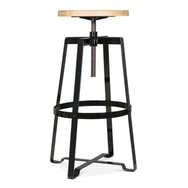 Nashville Swivel Stool - Black 72-89cm