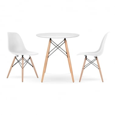 DSW Dining Set - 1 Table & 2 Chairs - White 70cm