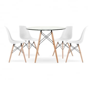 DSW Dining Set - 1 Table & 4 Chairs - Glass 90cm