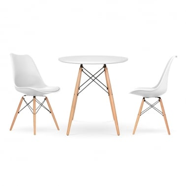 Soft Pad Dining Set - 1 Round Table & 2 Chairs - White 70cm