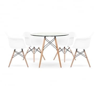DAW Dining Set - 1 Table & 4 Chairs - Glass 90cm