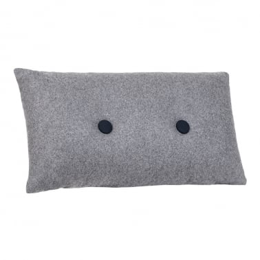 Poet Cushion With Double Button - Grey with Black Button