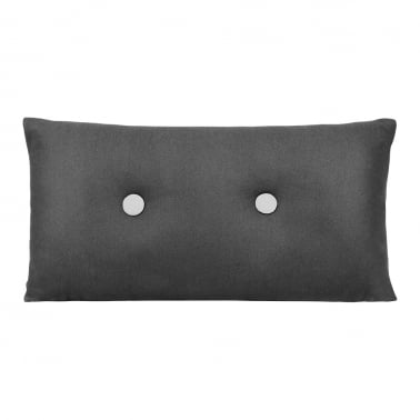 Poet Cushion With Double Button - Black with White Button