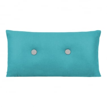 Poet Cushion With Double Button - Blue with Grey Button