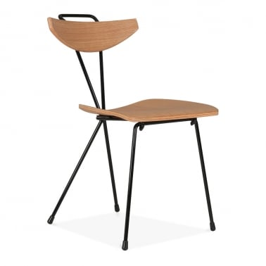 Sapphire Chair With Natural Plywood Seat - Black