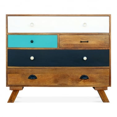 Jasmine Multi-Coloured Chest of Drawers - Teal Large