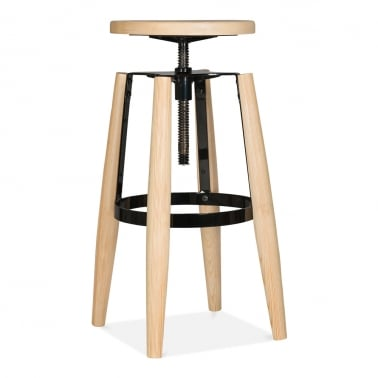 Hoxton Swivel Stool With Solid Wood Seat and Legs - Black