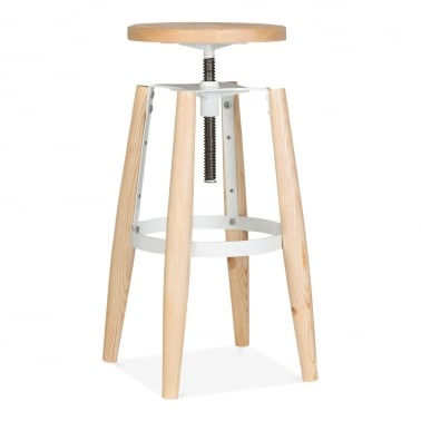 Hoxton Swivel Stool With Solid Wood Seat and Legs - White