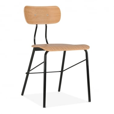 Toledo Chair With Natural Plywood Seat - Black