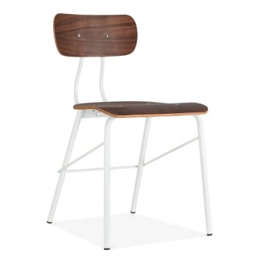 Toledo Chair With walnut Plywood Seat - White