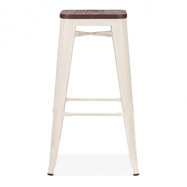 Tolix Style Stool with Brown Wood Seat - Cream 75cm