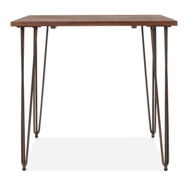 Hairpin Square Dining Table with Solid Wood Top - Raw 80cm