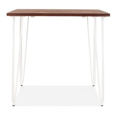 Hairpin Square Dining Table with Solid Wood Top - White 80cm
