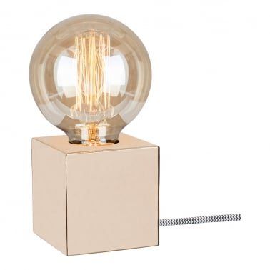 Chromed Cubic Table Light With Black and White Cord - Gold