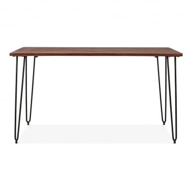 Hairpin Rectangular Dining Table With Solid Wood Top - Black 140cm