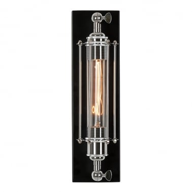 Brunel Cage Wall Light - Black and Chrome
