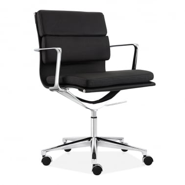 Soft Pad Office Chair with Short Back - Black